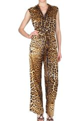 Saint Laurent Leopard Silk Satin Jumpsuit - Lyst