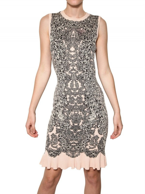 Alexander Mcqueen Viscose Silk Jacquard Knit Dress In