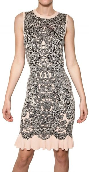 Alexander McQueen Viscose Silk Jacquard Knit Dress - Lyst