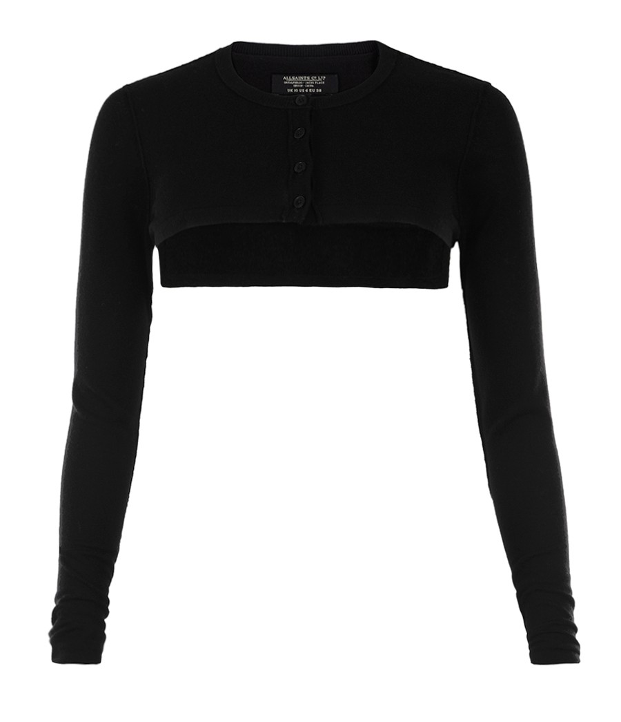 Allsaints Jagger Cropped Cardigan in Black | Lyst