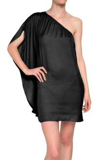 American Retro One Shoulder Satin Dress - Lyst
