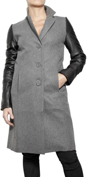 American Retro Felted Wool and Lamb Leather Coat - Lyst