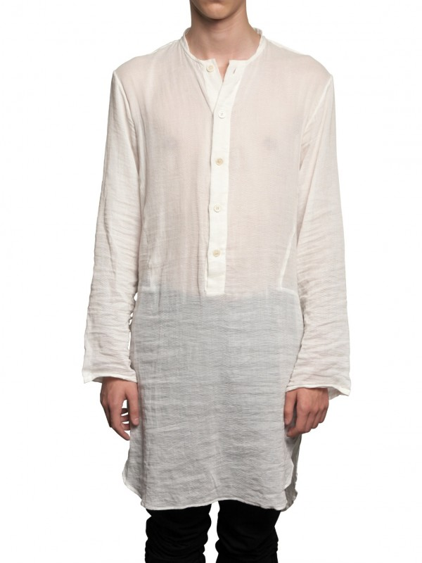 Lyst Ann Demeulemeester Cotton Gauze Long Shirt In White