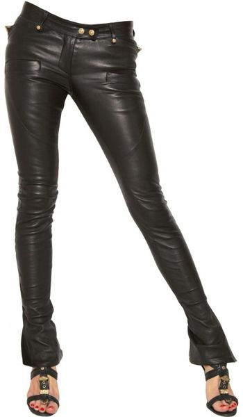 Balmain Biker Stretch Nappa Leather Trousers in Black - Lyst