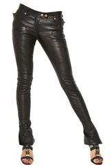 Balmain Biker Stretch Nappa Leather Trousers - Lyst