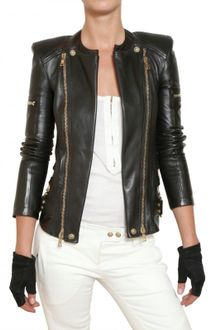 Balmain Nappa Biker Leather Jacket - Lyst