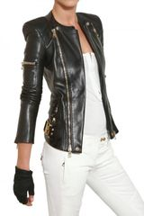 Balmain Nappa Biker Leather Jacket in Black - Lyst