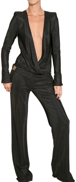 Balmain Textured Viscose Jersey Jumpsuit in Black - Lyst