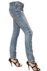 Balmain Destroyed Skinny Stretch Denim Jeans in Blue - Lyst
