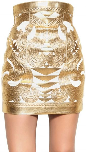 Balmain Gold Laminated Nappa Skirt - Lyst