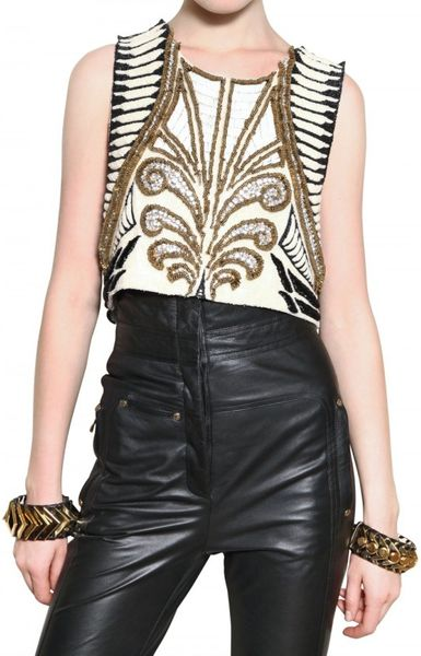 Balmain Emroidery Brode On Silk Top in Multicolor (multi) - Lyst
