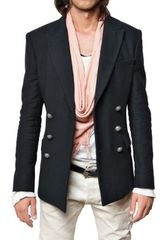 Balmain Cotton Canvas Double Breasted Jacket - Lyst