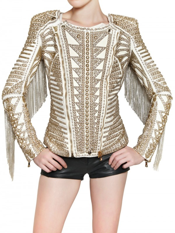 Lyst Balmain Embroidered Nappa Biker Leather Jacket In White