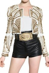 Balmain Embroidered Nappa Bolero Leather Jacket - Lyst