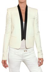 Balmain Satin Lapel Cool Wool Jacket - Lyst