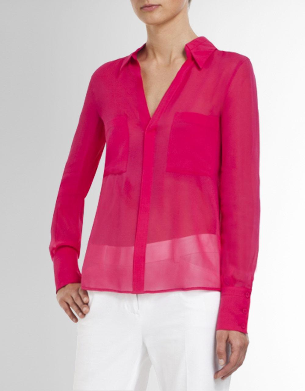Bcbgmaxazria emma button down silk chiffon blouse in pink for Silk button down shirt