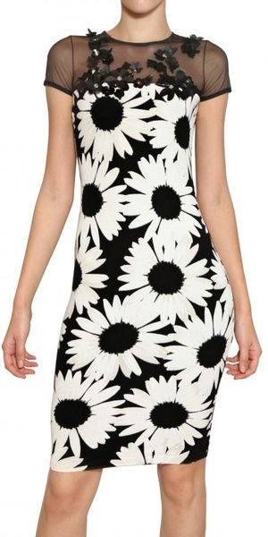 Blumarine Daisy Print Rayon Knit Dress - Lyst