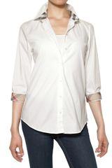 Burberry Brit Checked Profile Cotton Poplin Shirt - Lyst
