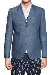Burberry Prorsum Chambray Linen Two Buttons Jacket - Lyst