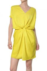 Carven Gathered Fluid Technical Satin Dress - Lyst