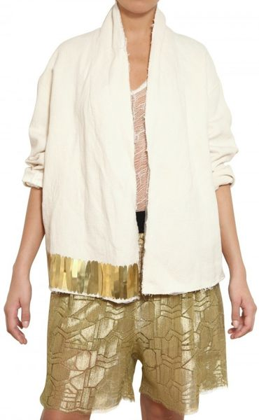 Damir Doma Brass Embellished Cotton Canvas Jacket in White - Lyst
