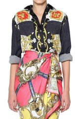 D&G Denim & Printed Twill Patchwork Shirt - Lyst
