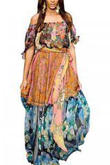 D&G Chiffon Scarf Print Patchwork Long Dress - Lyst