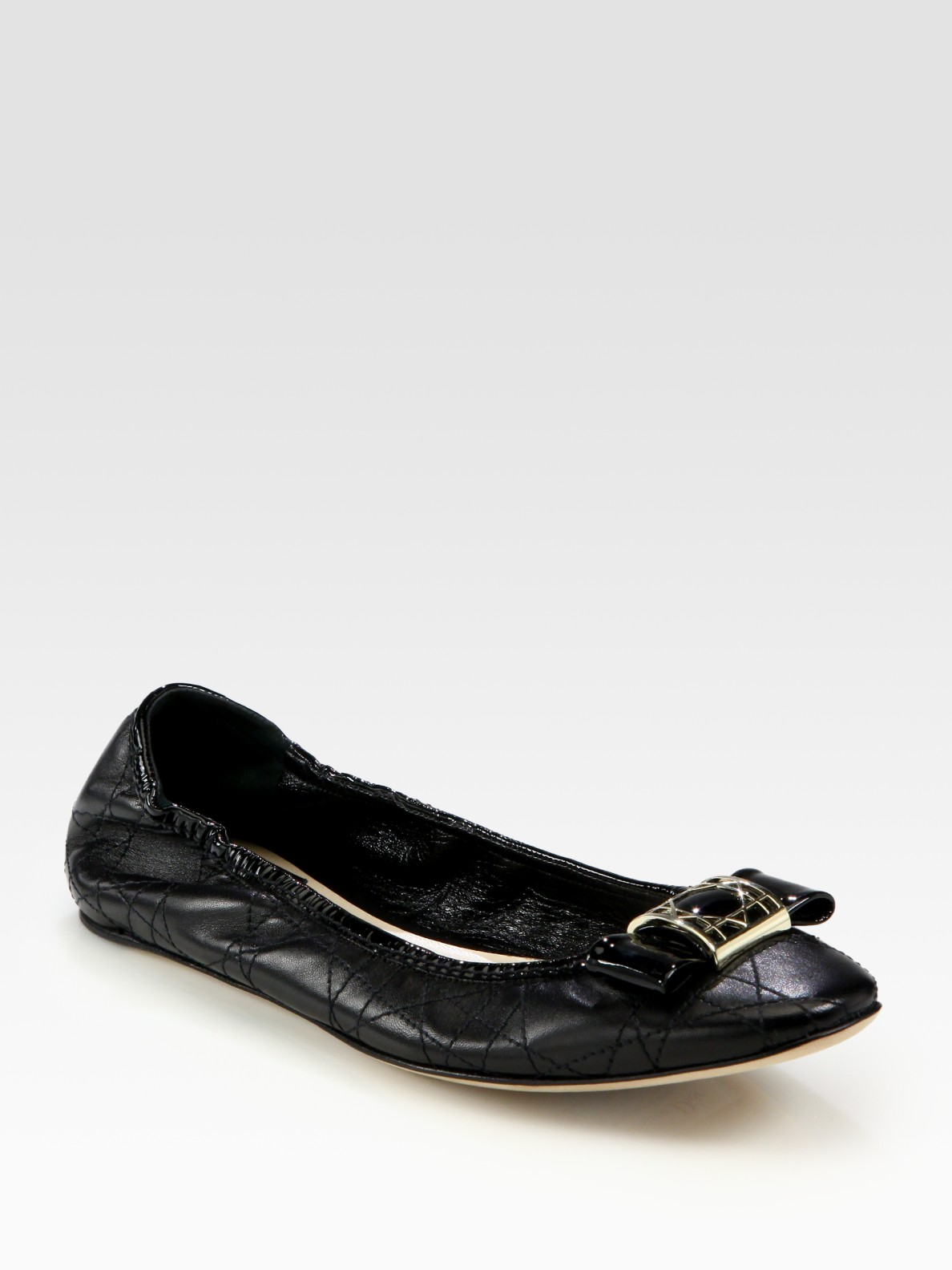 7bc931a61eb344 Lyst - Dior Cannage Patent Leather Bow Ballet Flats in Black