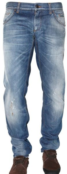 Dolce & Gabbana 18cm Painted Washed Denim 12 Jeans - Lyst