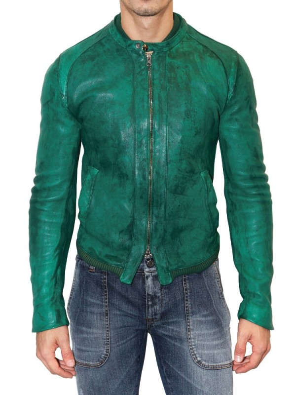 Lyst Dolce Amp Gabbana Dyed Washed Nappa Leather Jacket In
