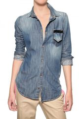 DSquared2 Leather Bow Denim Shirt - Lyst
