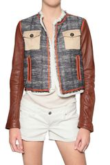 DSquared2 Leather Sleeve Boucle Jacket - Lyst