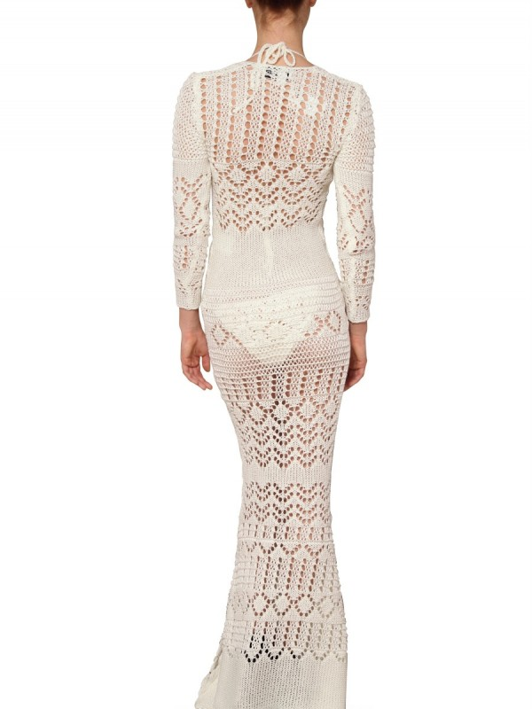 Emilio Pucci Jewelled Cotton Crochet Long Dress In White