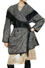 Etro Nappa Frnged Wool Mohair Tweed Coat - Lyst