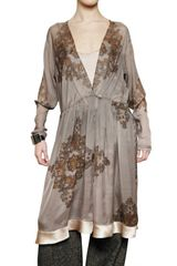 Etro Printed Silk Georgette Wrap Dress - Lyst