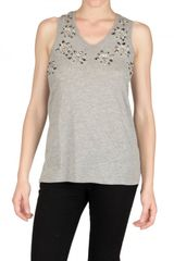 Felder Felder Embroidered Cotton Jersey Tank Top - Lyst