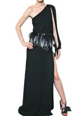 Francesco Scognamiglio Feather Belt Silk Chiffon Long Dress - Lyst