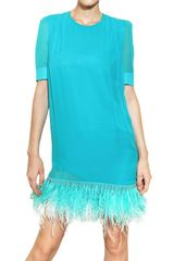 Francesco Scognamiglio Swarovski & Feathers On Chiffon Dress - Lyst