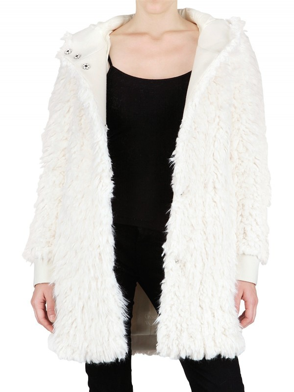 John galliano Hooded Faux Fur Coat in White | Lyst