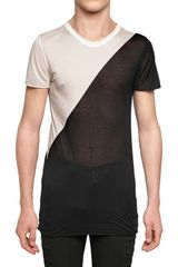 Gareth Pugh Bicolored Modal Jersey Transparent T-shirt - Lyst