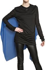 Gareth Pugh Silk Chiffon Cape On Modal Jersey Top - Lyst