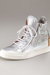 Giuseppe Zanotti Metallic Silver and Crystal High-top - Lyst
