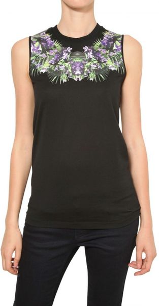 Givenchy Orchid Print Cotton Jersey Tank Top in Black - Lyst