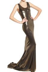 Haider Ackermann Techno Metallic Jersey Dress in Gold - Lyst