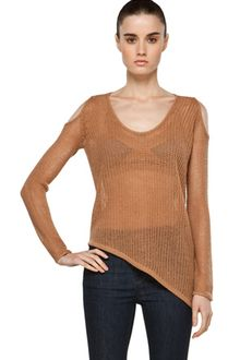 Helmut Lang Asymmetrical Hem Top in Tan - Lyst
