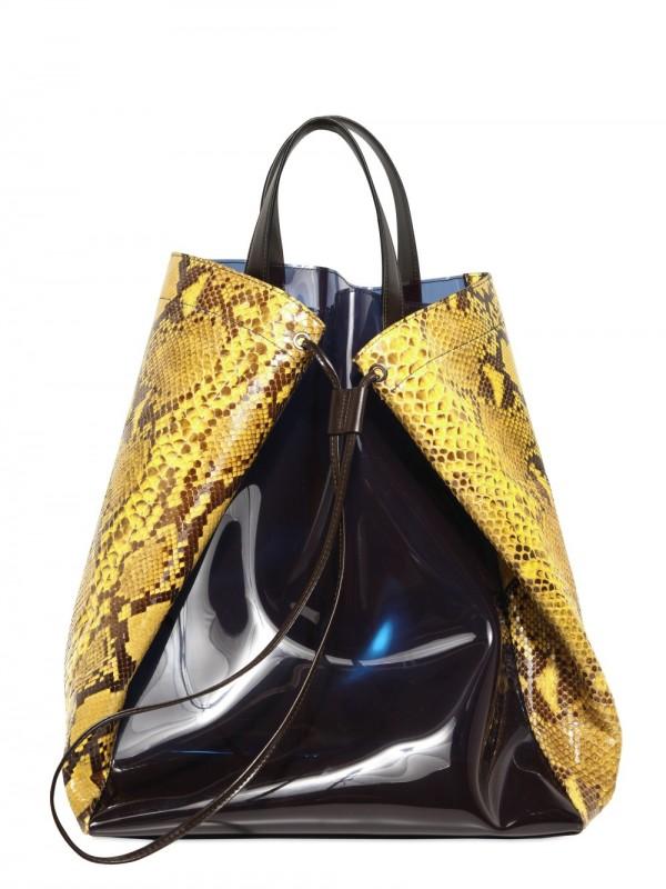 Lyst Jil Sander Pvc And Python Tote Bag In Black For Men