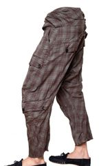 John Galliano Crinkled Checked Wool Trousers in Purple for Men (bordeaux) - Lyst