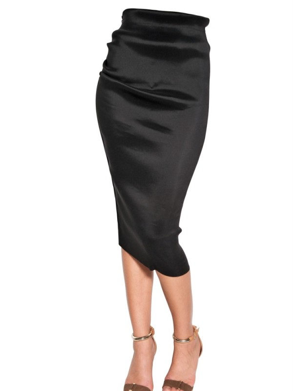 Lanvin Stretch Silk Organza Pencil Skirt in Black | Lyst
