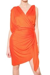 Lanvin Draped Viscose Jersey Dress - Lyst