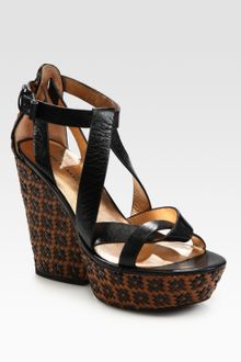 Marc By Marc Jacobs Woven Multi-tone Leather Wedge Sandals - Lyst
